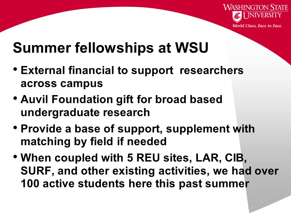 Summer fellowships at WSU External financial to support researchers across campus Auvil Foundation gift for broad based undergraduate research Provide a base of support, supplement with matching by field if needed When coupled with 5 REU sites, LAR, CIB, SURF, and other existing activities, we had over 100 active students here this past summer