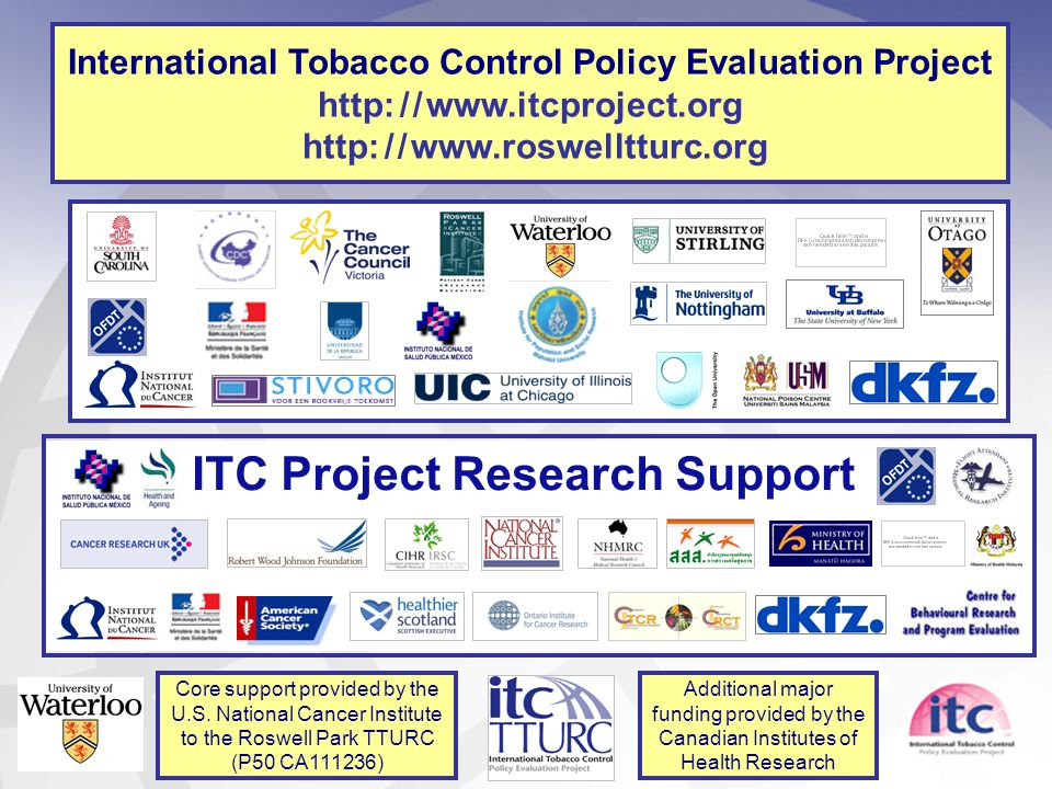 International Tobacco Control Policy Evaluation Project http: / / www.itcproject.org http: / / www.roswelltturc.org ITC Project Research Support Core support provided by the U.S.