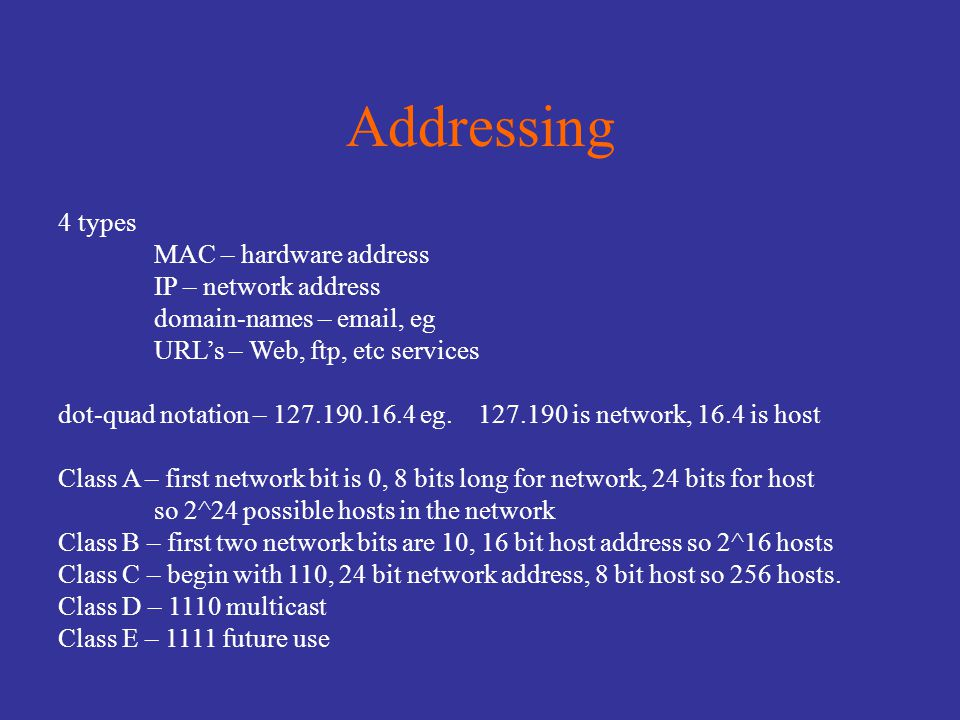 Subnets, etc Subnet mask consists of n 1's followed by 32-n 0's Router ANDs subnet mask with host IP address to decide if the address is local or not.