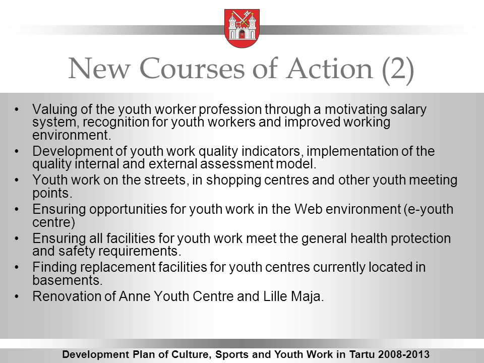 New Courses of Action (2) Valuing of the youth worker profession through a motivating salary system, recognition for youth workers and improved working environment.