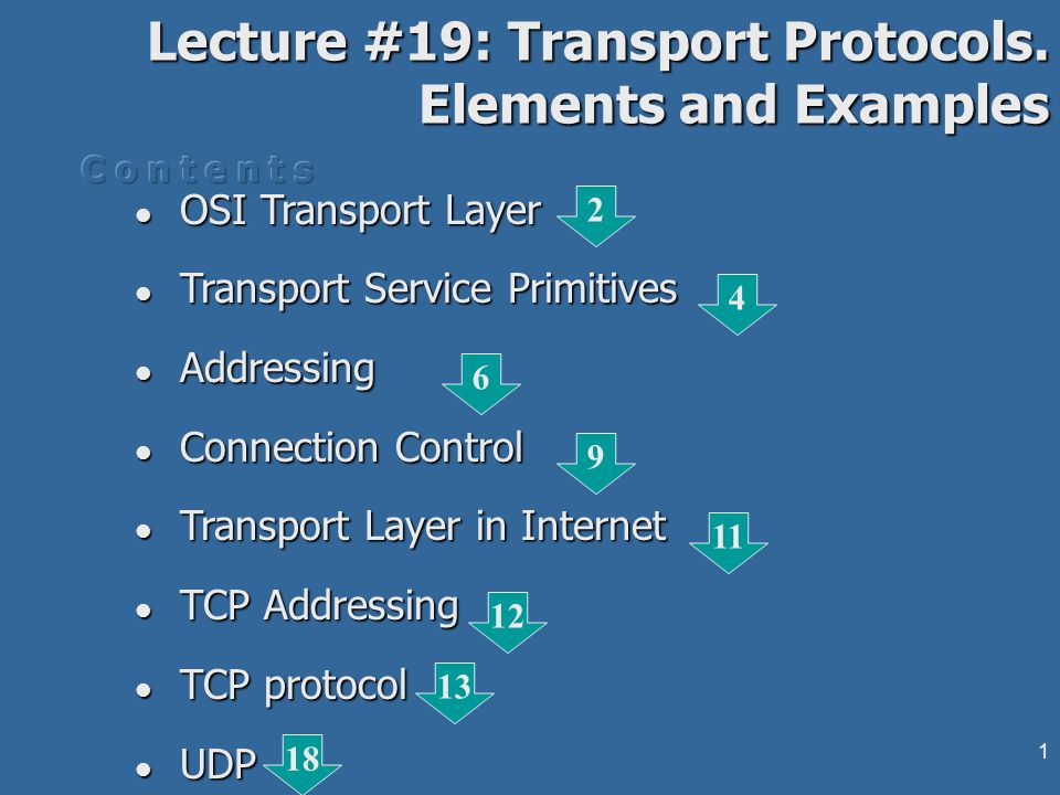 11 Transport Layer in Internet Connection-oriented and connectionless oriented protocols in InternetConnection-oriented and connectionless oriented protocols in Internet TCP (Transport Control Protocol) features:TCP (Transport Control Protocol) features: connection oriented protocol supporting end-to-end full- duplex byte stream over network links with losses and errorsconnection oriented protocol supporting end-to-end full- duplex byte stream over network links with losses and errors upper interface to user processes or OS kernel requestsupper interface to user processes or OS kernel requests lower interface to IPlower interface to IP brakes user/OS data into IP datagrams of 1500-64kB or restore the IP datagrams into upper level byte streambrakes user/OS data into IP datagrams of 1500-64kB or restore the IP datagrams into upper level byte stream controls the timeout periods, retransmission events, sequencing, etc, over the unreliable IP transfercontrols the timeout periods, retransmission events, sequencing, etc, over the unreliable IP transfer 19/1