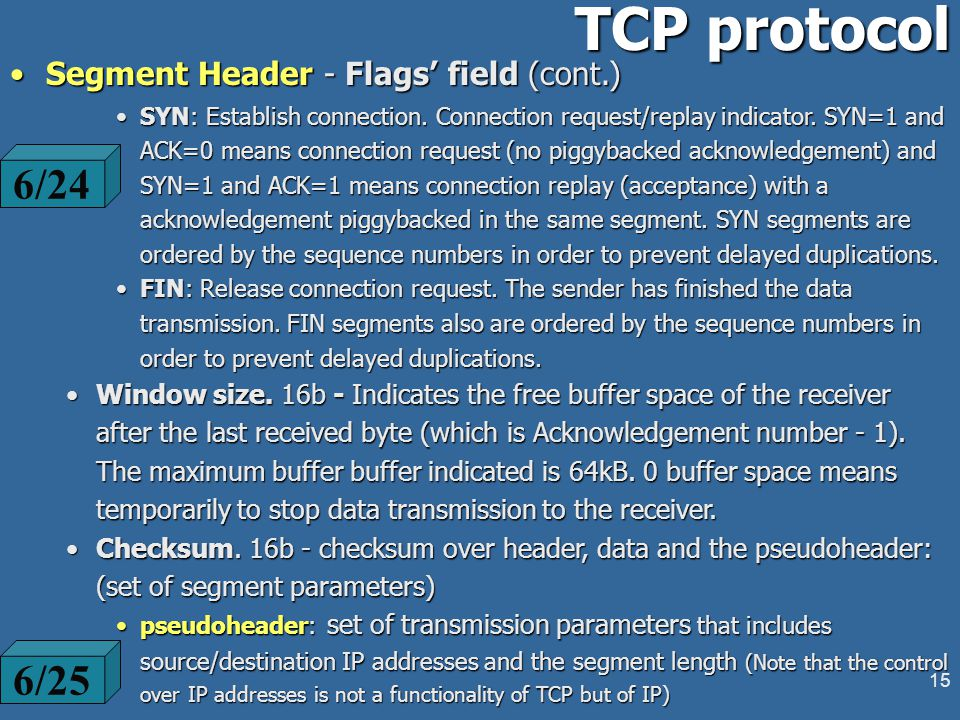 14 TCP protocol Segment Header (cont.)Segment Header (cont.) TCP header length - (4b) - the header length in 32b words - up to 16 words of which 5 are