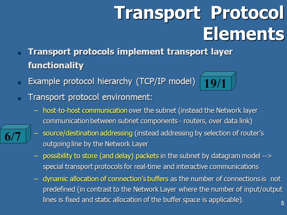 4 6/6 l Transport services are provided by the access primitives l Access primitives provide interface to user applications and sessions l Example set of transport service's access primitives l Transport Protocol Data Unit (TPDU) - standard data entity exchanged between transport peers.