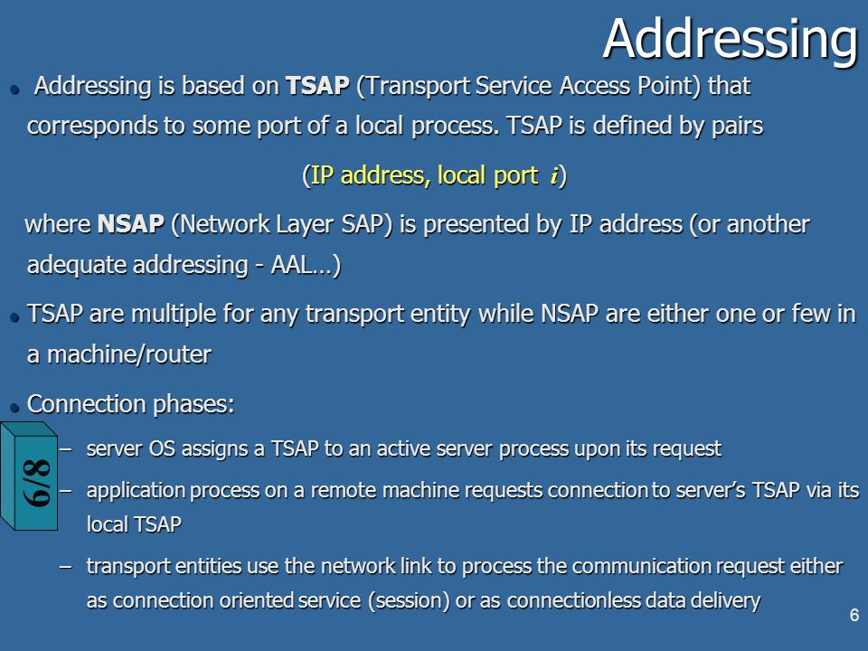 6Addressing l Addressing is based on TSAP (Transport Service Access Point) that corresponds to some port of a local process.