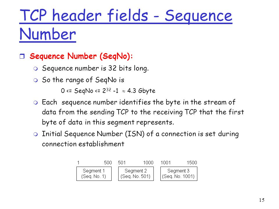 15 TCP header fields - Sequence Number r Sequence Number (SeqNo): m Sequence number is 32 bits long.