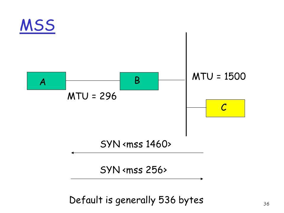 36 MSS A B C MTU = 296 MTU = 1500 SYN Default is generally 536 bytes