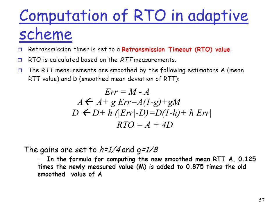 57 Computation of RTO in adaptive scheme r Retransmission timer is set to a Retransmission Timeout (RTO) value.