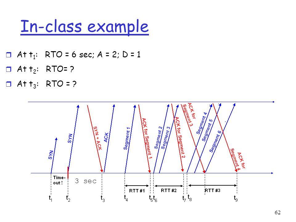 62 In-class example r At t 1 : RTO = 6 sec; A = 2; D = 1 r At t 2 : RTO= r At t 3 : RTO = 3 sec