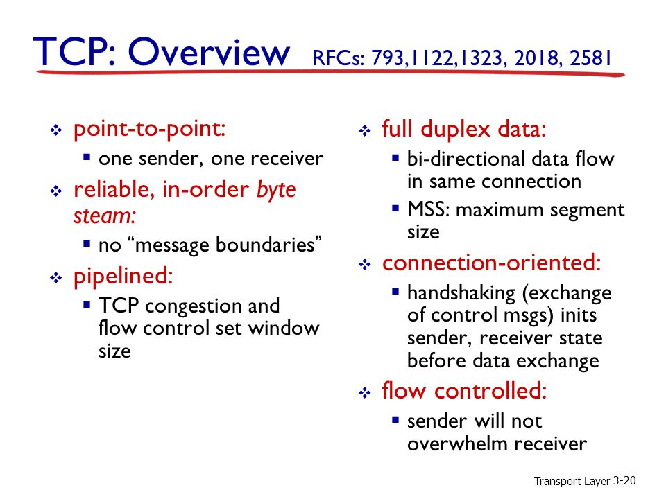 Transport Layer 3-20 TCP: Overview RFCs: 793,1122,1323, 2018, 2581  full duplex data:  bi-directional data flow in same connection  MSS: maximum segment size  connection-oriented:  handshaking (exchange of control msgs) inits sender, receiver state before data exchange  flow controlled:  sender will not overwhelm receiver  point-to-point:  one sender, one receiver  reliable, in-order byte steam:  no message boundaries  pipelined:  TCP congestion and flow control set window size