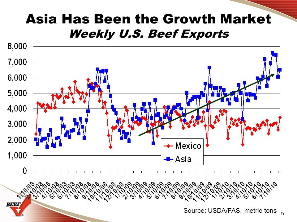 19 Asia Has Been the Growth Market Weekly U.S. Beef Exports Source: USDA/FAS, metric tons