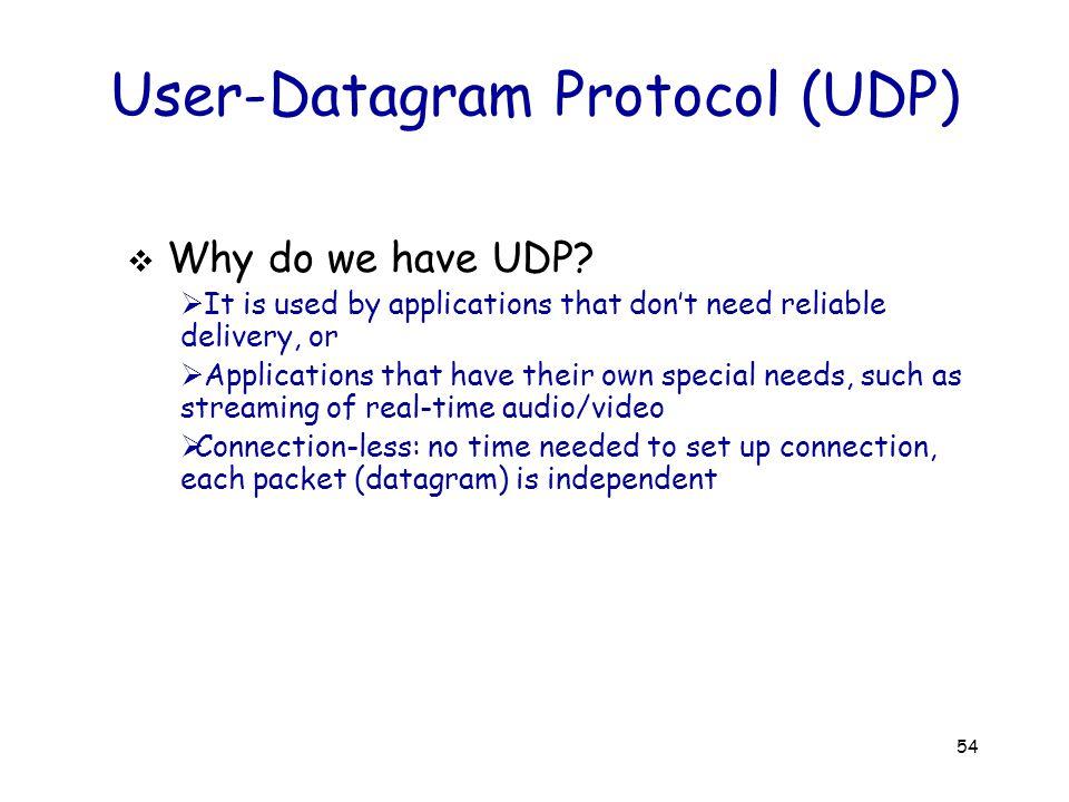 54 User-Datagram Protocol (UDP)  Why do we have UDP.
