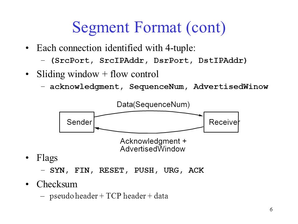 6 Segment Format (cont) Each connection identified with 4-tuple: –(SrcPort, SrcIPAddr, DsrPort, DstIPAddr) Sliding window + flow control –acknowledgment, SequenceNum, AdvertisedWinow Flags –SYN, FIN, RESET, PUSH, URG, ACK Checksum –pseudo header + TCP header + data Sender Data(SequenceNum) Acknowledgment + AdvertisedWindow Receiver