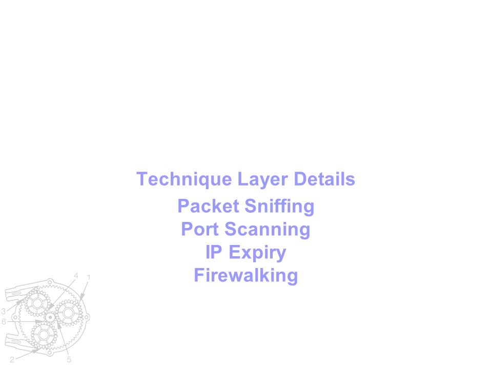 Technique Layer Details Packet Sniffing Port Scanning IP Expiry Firewalking