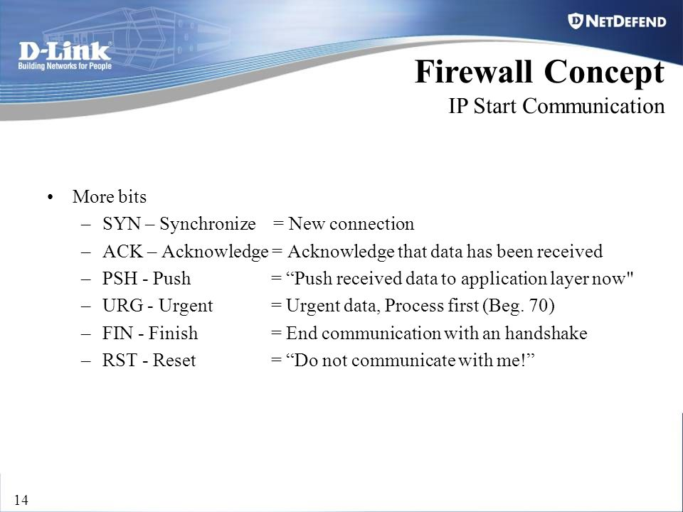 D-Link Security 14 Firewall Concept IP Start Communication More bits –SYN – Synchronize = New connection –ACK – Acknowledge = Acknowledge that data ha