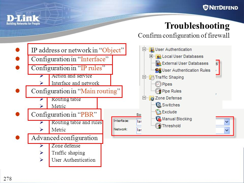 "D-Link Security 278 IP address or network in ""Object"" Configuration in ""Interface"" Configuration in ""IP rules""  Action and service  Interface and ne"