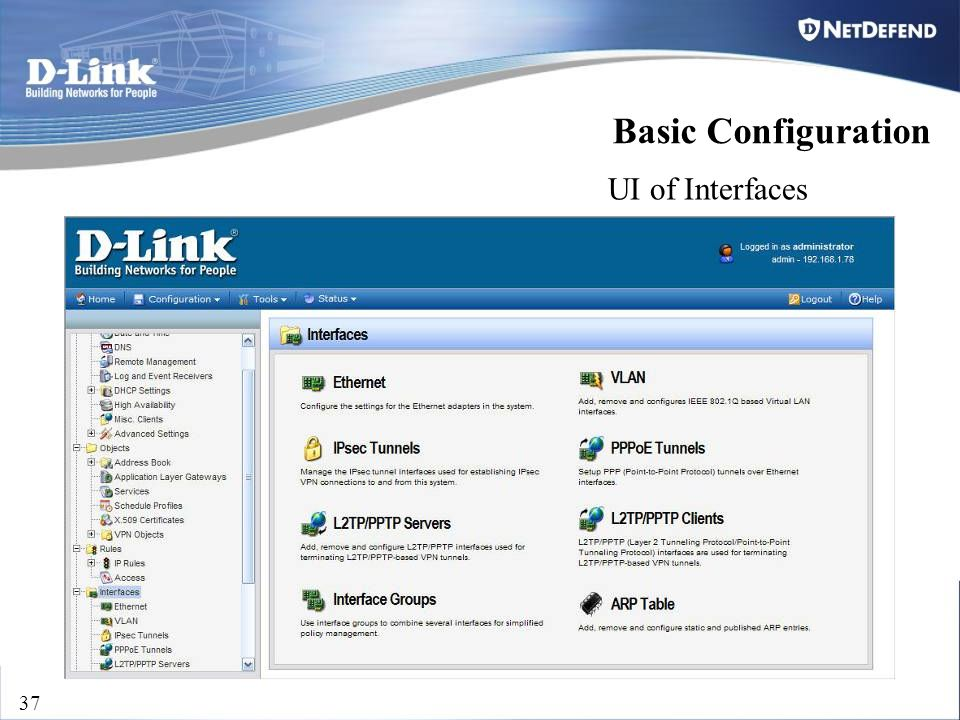 D-Link Security 37 UI of Interfaces Basic Configuration