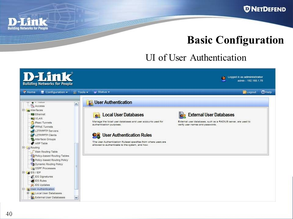 D-Link Security 40 UI of User Authentication Basic Configuration
