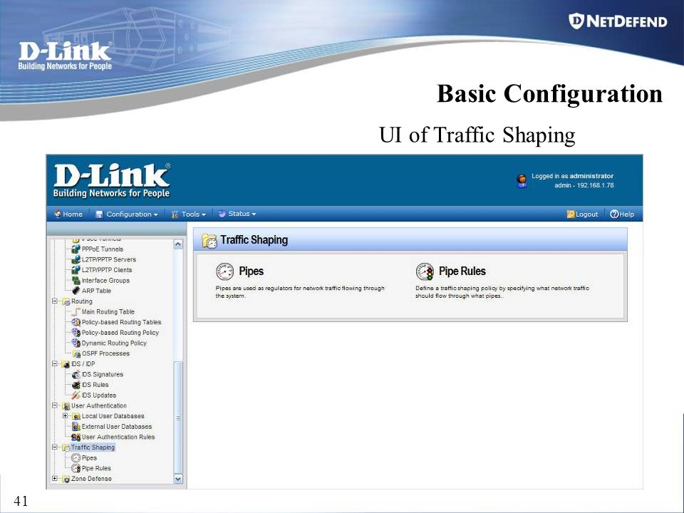 D-Link Security 41 UI of Traffic Shaping Basic Configuration