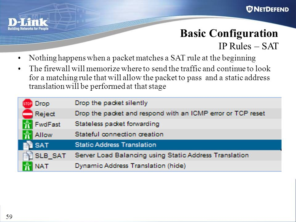 D-Link Security 59 Basic Configuration IP Rules – SAT Nothing happens when a packet matches a SAT rule at the beginning The firewall will memorize whe