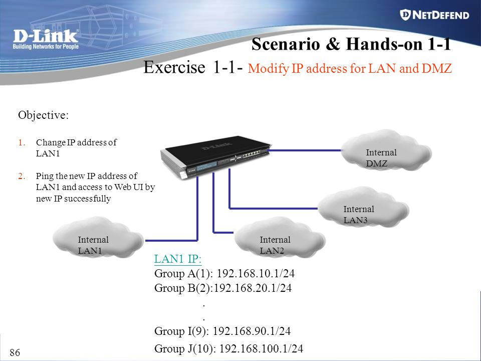 D-Link Security 86 Scenario & Hands-on 1-1 Exercise 1-1- Modify IP address for LAN and DMZ Internal LAN1 Objective: 1.Change IP address of LAN1 2.Ping