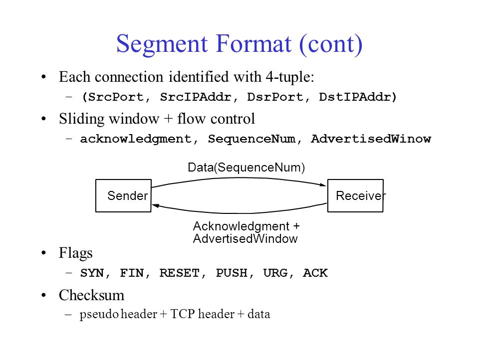 Segment Format (cont) Each connection identified with 4-tuple: –(SrcPort, SrcIPAddr, DsrPort, DstIPAddr) Sliding window + flow control –acknowledgment, SequenceNum, AdvertisedWinow Flags –SYN, FIN, RESET, PUSH, URG, ACK Checksum –pseudo header + TCP header + data Sender Data(SequenceNum) Acknowledgment + AdvertisedWindow Receiver