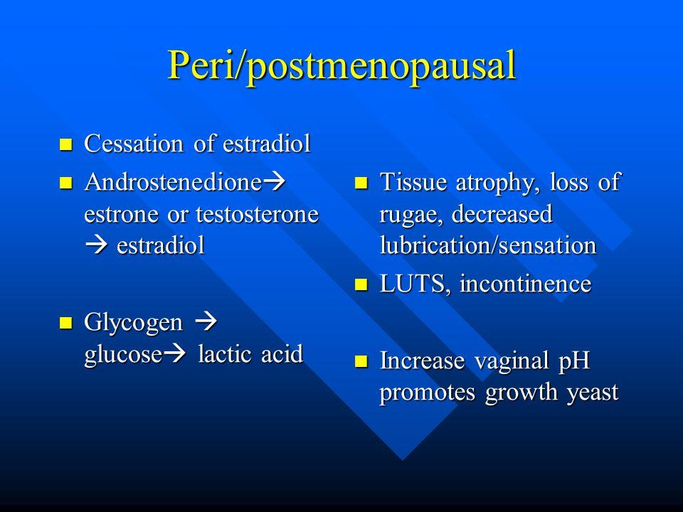 Peri/postmenopausal Cessation of estradiol Cessation of estradiol Androstenedione  estrone or testosterone  estradiol Androstenedione  estrone or testosterone  estradiol Glycogen  glucose  lactic acid Glycogen  glucose  lactic acid Tissue atrophy, loss of rugae, decreased lubrication/sensation Tissue atrophy, loss of rugae, decreased lubrication/sensation LUTS, incontinence LUTS, incontinence Increase vaginal pH promotes growth yeast Increase vaginal pH promotes growth yeast