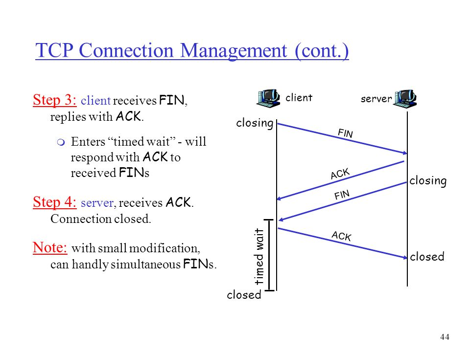 45 TCP Connection Management (cont) TCP client lifecycle TCP server lifecycle