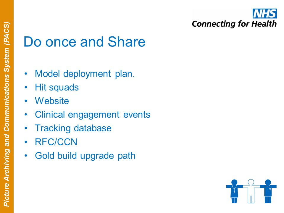 Picture Archiving and Communications System (PACS) Do once and Share Model deployment plan.