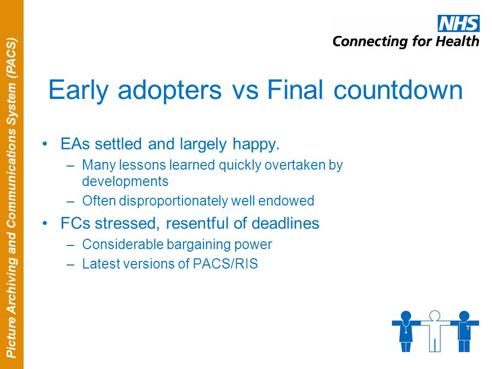 Picture Archiving and Communications System (PACS) Early adopters vs Final countdown EAs settled and largely happy. –Many lessons learned quickly over