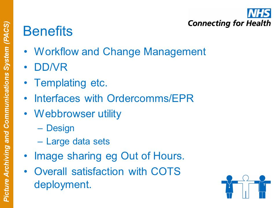 Picture Archiving and Communications System (PACS) Benefits Workflow and Change Management DD/VR Templating etc. Interfaces with Ordercomms/EPR Webbro