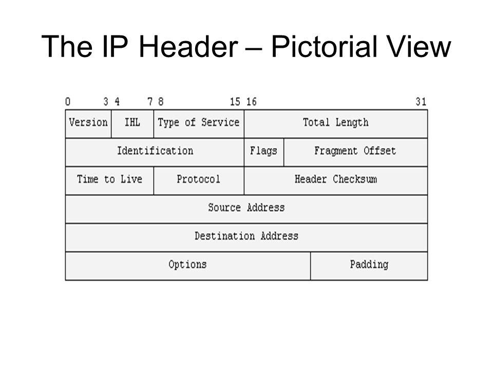 The IP Header Data Structure View struct iphdr { #if defined(__LITTLE_ENDIAN_BITFIELD) __u8 ihl:4, version:4; #elif defined (__BIG_ENDIAN_BITFIELD) __u8 version:4, ihl:4; #else #error Please fix #endif __u8 tos; __u16 tot_len; __u16 id; __u16 frag_off; __u8 ttl; __u8 protocol; __u16 check; __u32 saddr; __u32 daddr; /*The options start here.