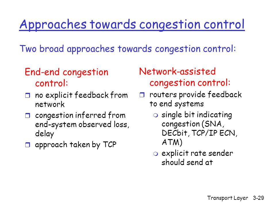 Transport Layer 3-29 Approaches towards congestion control End-end congestion control: r no explicit feedback from network r congestion inferred from end-system observed loss, delay r approach taken by TCP Network-assisted congestion control: r routers provide feedback to end systems m single bit indicating congestion (SNA, DECbit, TCP/IP ECN, ATM) m explicit rate sender should send at Two broad approaches towards congestion control: