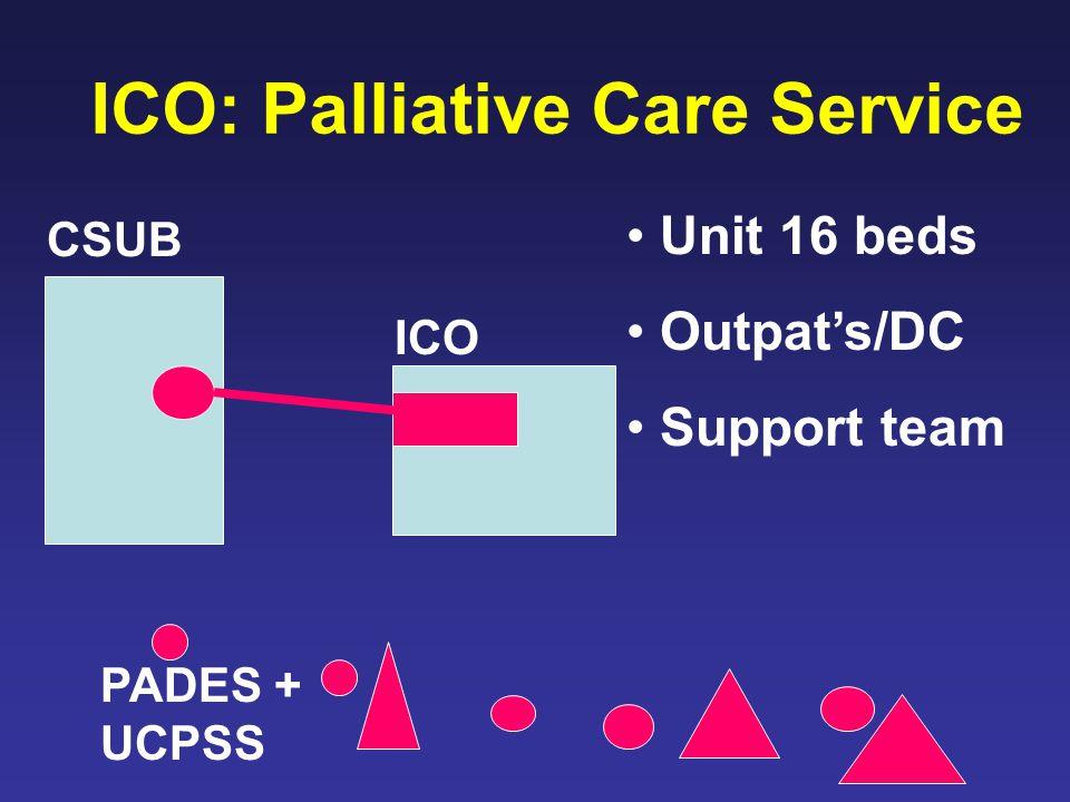 ICO: Palliative Care Service Unit 16 beds Outpat's/DC Support team CSUB ICO PADES + UCPSS