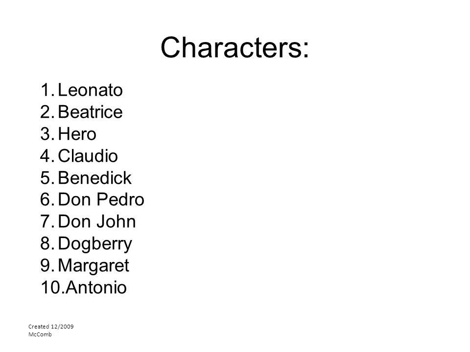 Characters: Created 12/2009 McComb 1.Leonato 2.Beatrice 3.Hero 4.Claudio 5.Benedick 6.Don Pedro 7.Don John 8.Dogberry 9.Margaret 10.Antonio