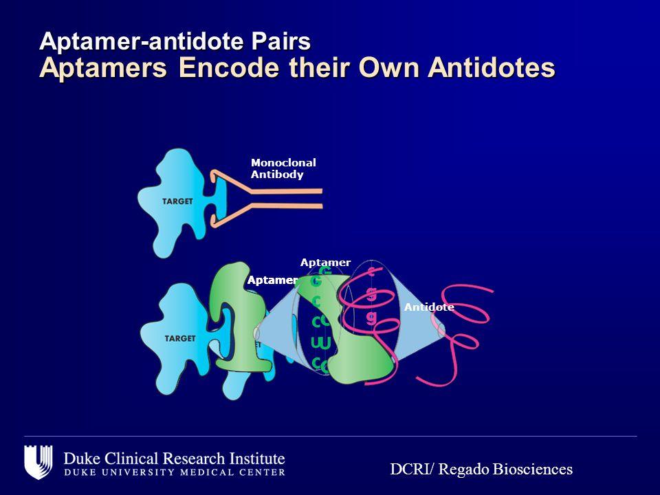 Monoclonal Antibody Aptamer Antidote Aptamer Aptamer-antidote Pairs Aptamers Encode their Own Antidotes DCRI/ Regado Biosciences