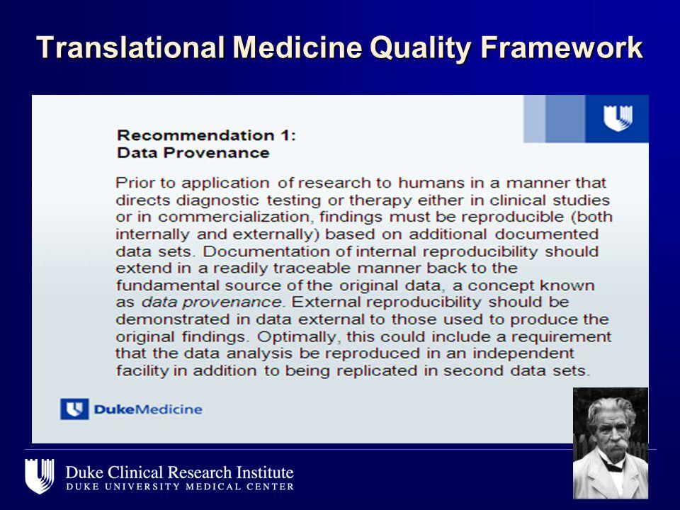 Translational Medicine Quality Framework