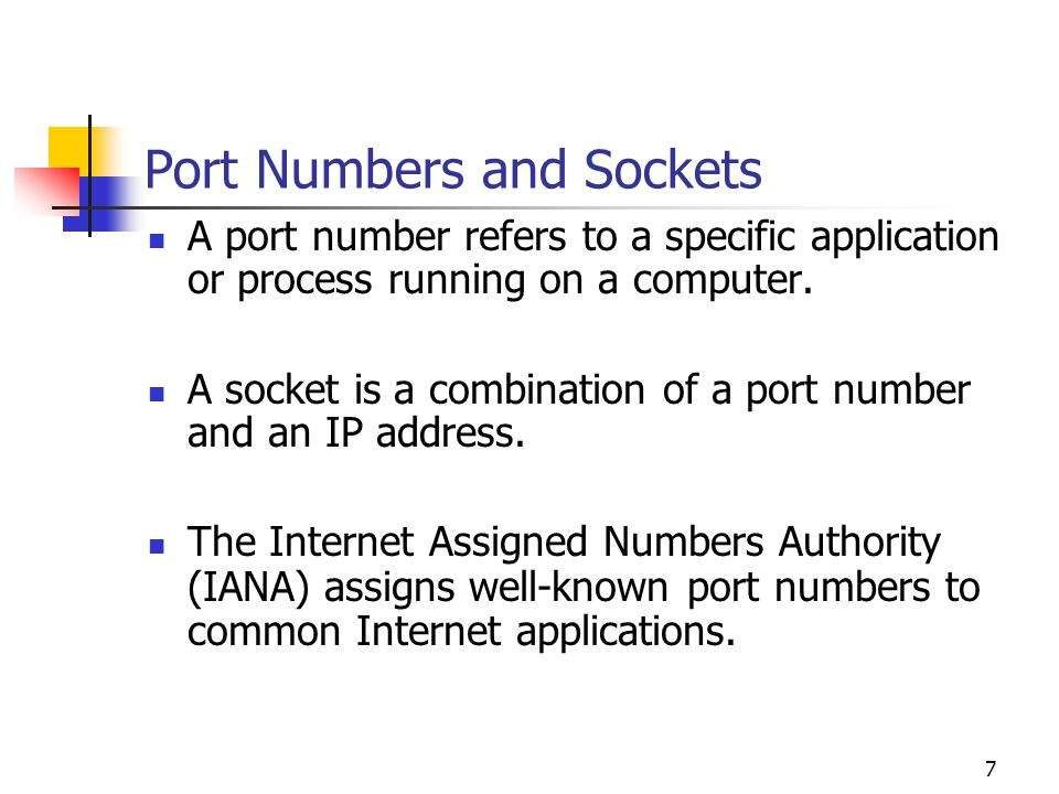 7 Port Numbers and Sockets A port number refers to a specific application or process running on a computer. A socket is a combination of a port number