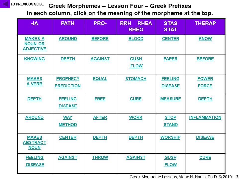 Greek Morpheme Lessons, Alene H. Harris, Ph.D. © 2010.