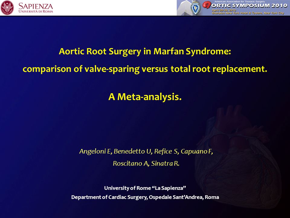 Background For decades total root replacement (TRR) with a valved composite graft was the mainstay therapy for aortic root abnormalities in Marfan (MFS) patients.