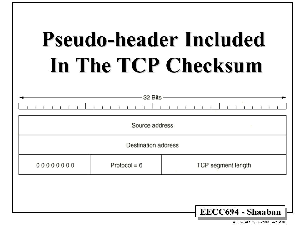EECC694 - Shaaban #10 lec #12 Spring2000 4-20-2000 Pseudo-header Included In The TCP Checksum
