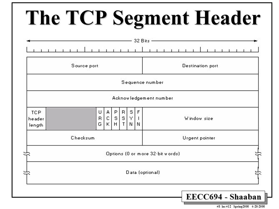 EECC694 - Shaaban #8 lec #12 Spring2000 4-20-2000 The TCP Segment Header