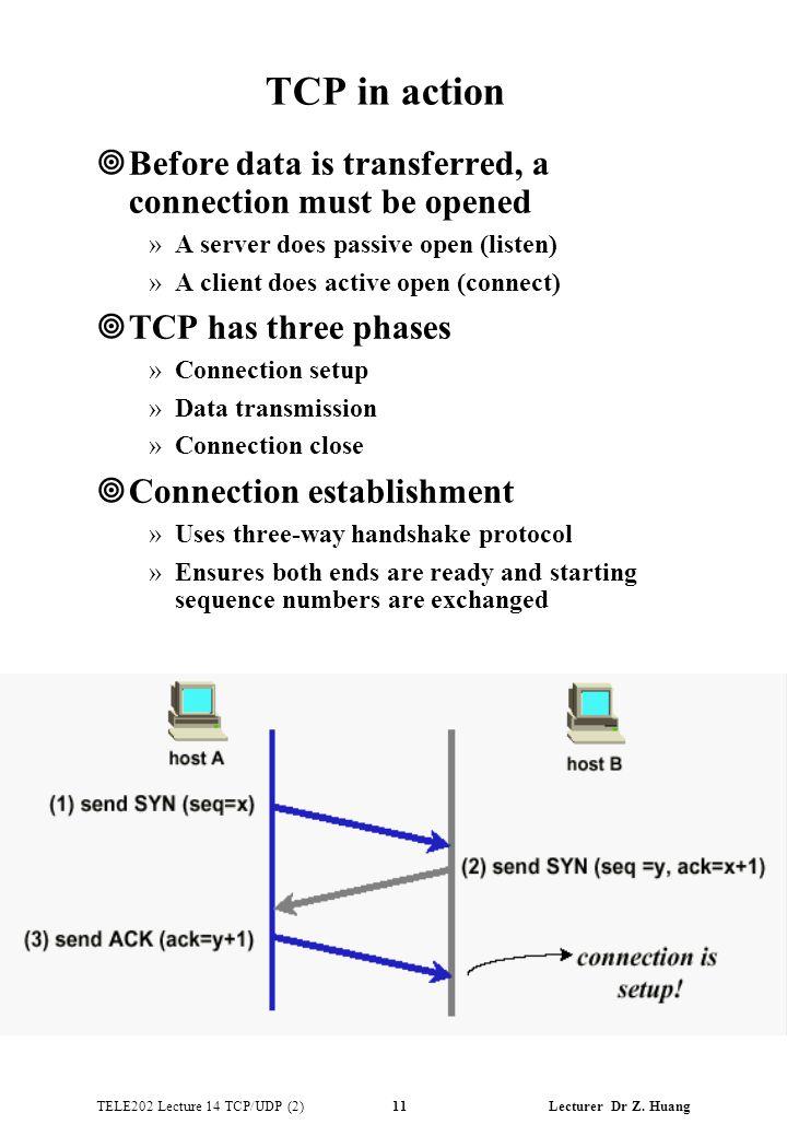 TELE202 Lecture 14 TCP/UDP (2) 11 Lecturer Dr Z.