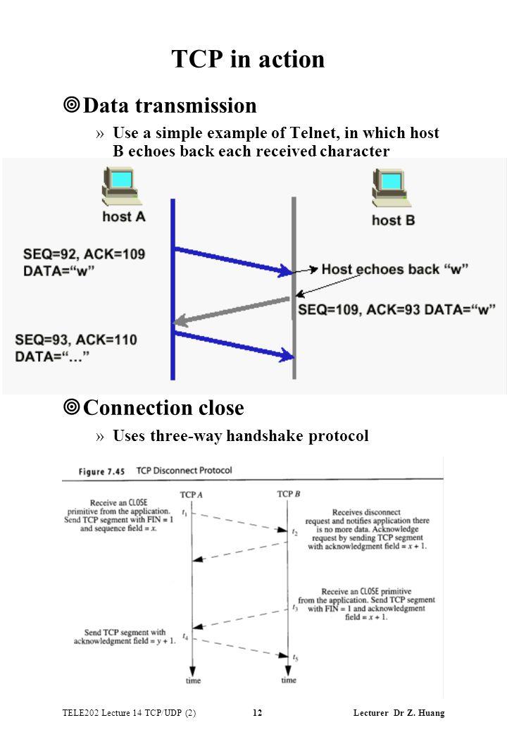 TELE202 Lecture 14 TCP/UDP (2) 12 Lecturer Dr Z.