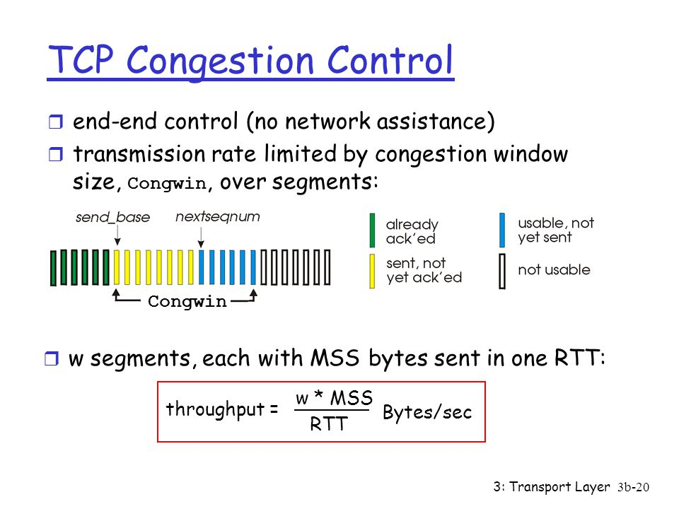 3: Transport Layer3b-20 TCP Congestion Control r end-end control (no network assistance)  transmission rate limited by congestion window size, Congwin, over segments: r w segments, each with MSS bytes sent in one RTT: throughput = w * MSS RTT Bytes/sec Congwin