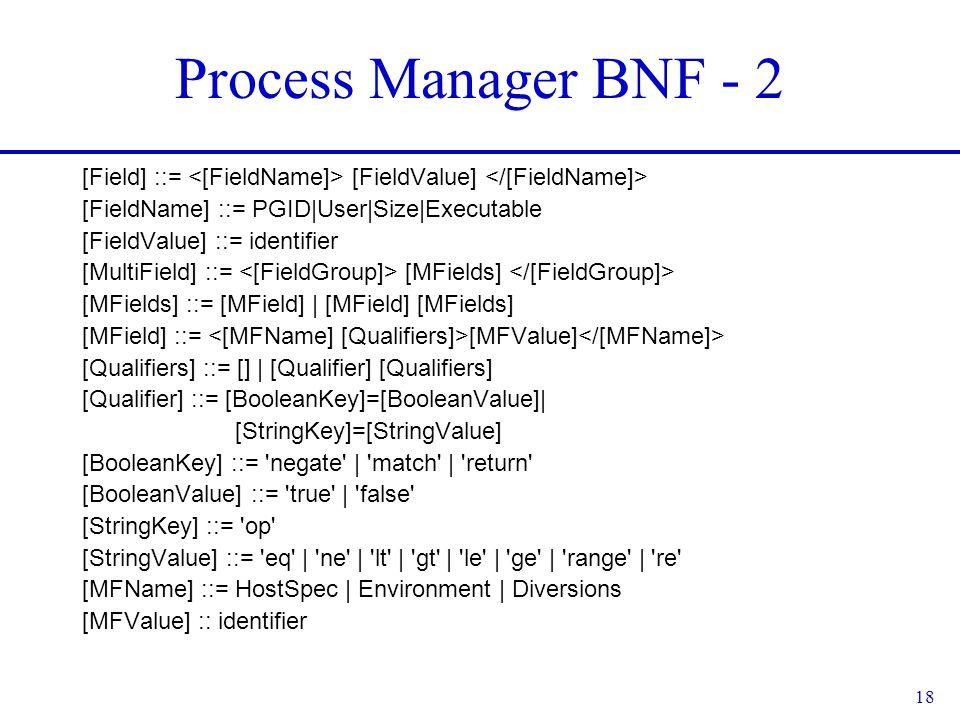 18 Process Manager BNF - 2 [Field] ::= [FieldValue] [FieldName] ::= PGID|User|Size|Executable [FieldValue] ::= identifier [MultiField] ::= [MFields] [MFields] ::= [MField] | [MField] [MFields] [MField] ::= [MFValue] [Qualifiers] ::= [] | [Qualifier] [Qualifiers] [Qualifier] ::= [BooleanKey]=[BooleanValue]| [StringKey]=[StringValue] [BooleanKey] ::= negate | match | return [BooleanValue] ::= true | false [StringKey] ::= op [StringValue] ::= eq | ne | lt | gt | le | ge | range | re [MFName] ::= HostSpec | Environment | Diversions [MFValue] :: identifier