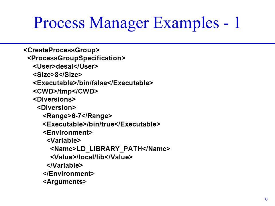 9 Process Manager Examples - 1 desai 8 /bin/false /tmp 6-7 /bin/true LD_LIBRARY_PATH /local/lib