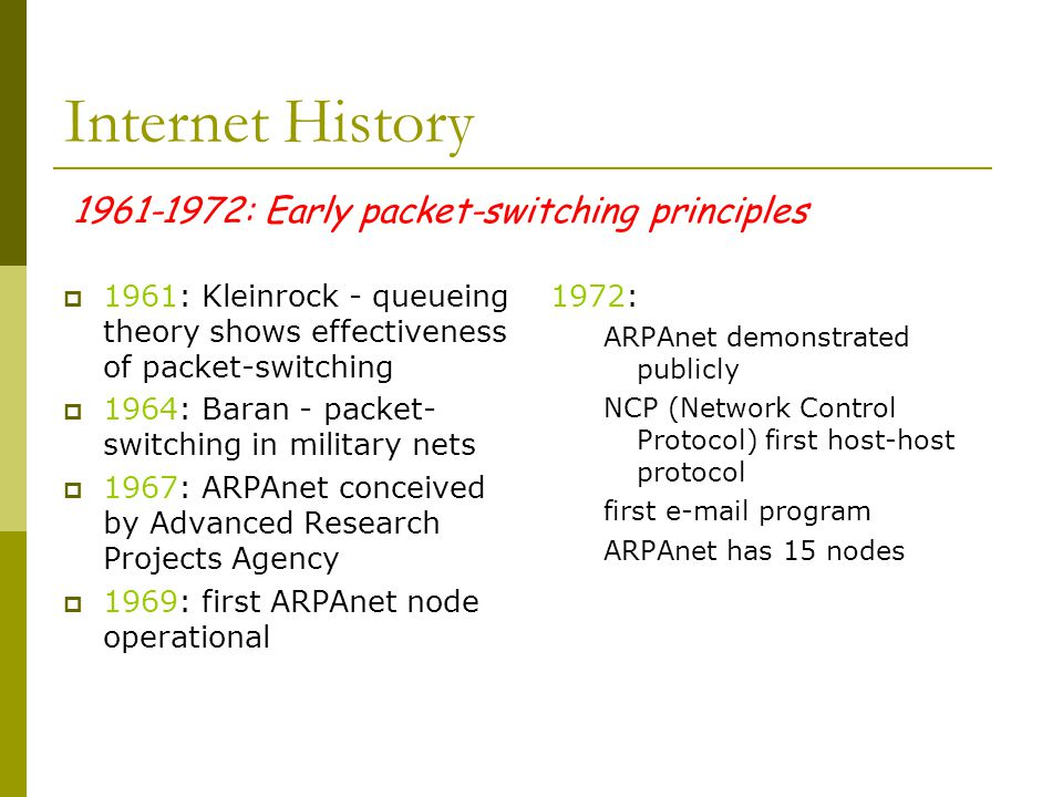 1961-1972: Early packet-switching principles Internet History  1961: Kleinrock - queueing theory shows effectiveness of packet-switching  1964: Baran - packet- switching in military nets  1967: ARPAnet conceived by Advanced Research Projects Agency  1969: first ARPAnet node operational 1972: ARPAnet demonstrated publicly NCP (Network Control Protocol) first host-host protocol first e-mail program ARPAnet has 15 nodes