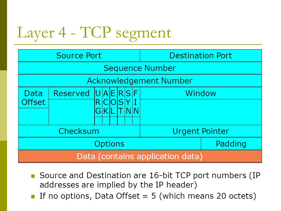Source PortDestination Port Sequence NumberAcknowledgement NumberData Offset WindowReservedACKACK URGURG EOLEOL RSTRST SYNSYN FINFIN ChecksumUrgent Po