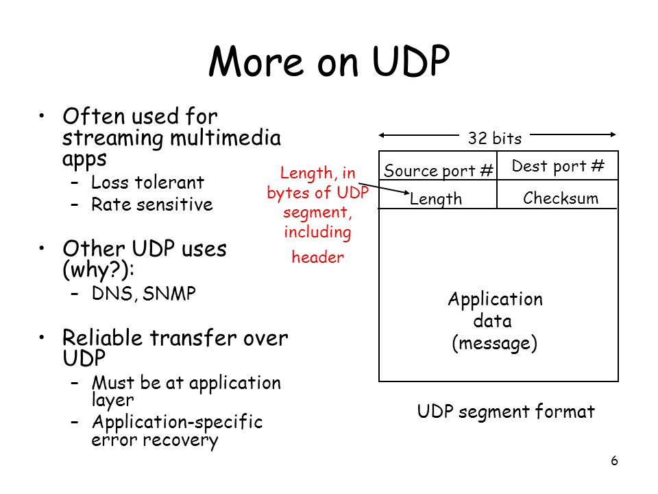 6 More on UDP Often used for streaming multimedia apps –Loss tolerant –Rate sensitive Other UDP uses (why?): –DNS, SNMP Reliable transfer over UDP –Mu