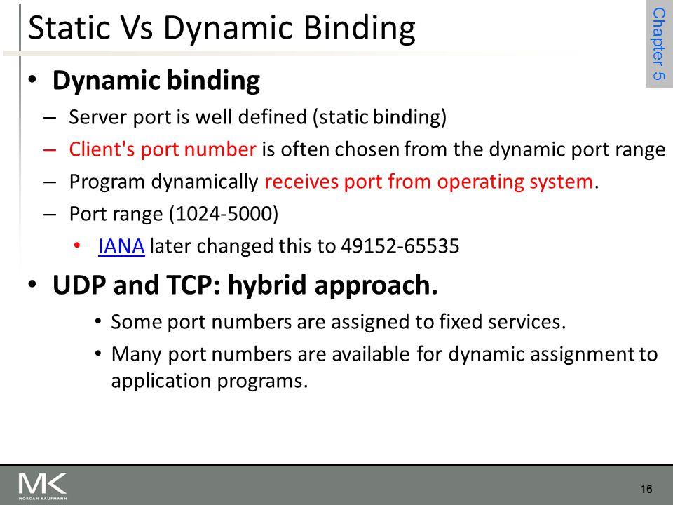 16 Chapter 4 16 Chapter 5 Static Vs Dynamic Binding Dynamic binding – Server port is well defined (static binding) – Client's port number is often cho